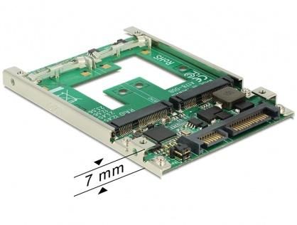 """Convertor 2.5"""" SATA 22 pini la 2 x mSATA cu RAID, Delock 62545"""