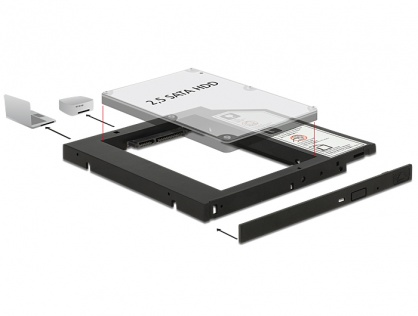 "Installation Frame (Caddy) 10mm Slim SATA 5.25 pentru 2.5"" SATA HDD 9.5mm, Delock 62669"