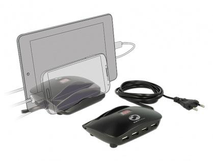 Incarcator priza (Statie de incarcare) 4 porturi + 2 x Suport Smartphone / Tableta si indicator LED pentru Amperaj, Navilock 62689