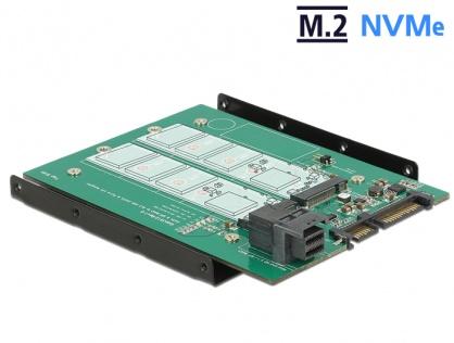 """Adaptor SATA 22 pini / SFF-8643 NVMe la 1 x M.2 NGFF Key M + 1 x M.2 NGFF Key B + kit 3.5"""", Delock 62704"""