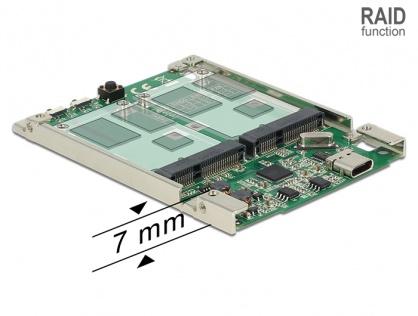 """Convertor 2.5"""" USB 3.1 Gen 2 USB-C la 2 x mSATA cu RAID 7mm, Delock 62852"""