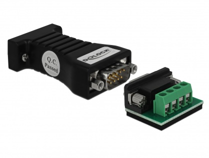 Convertor 1 x Serial RS-232 DB9 la 1 x Serial RS-485 cu protectie EDS 600 W si temperatura extinsa, Delock 62919