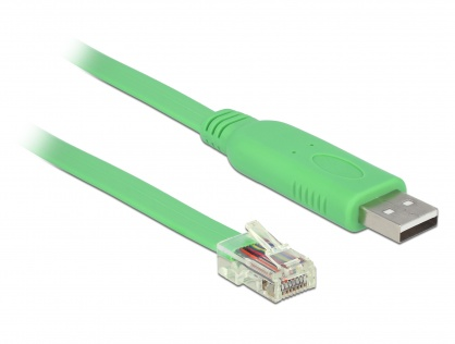Cablu USB 2.0 tip A la 1 x Serial RS-232 RJ45 (pentru router Cisco) T-T 1.8m, Delock 62960