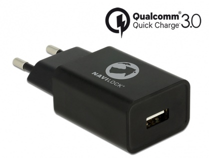 Incarcator priza cu 1 x USB Qualcomm Quick/Fast Charge 3.0 (incarcare rapida) Negru, Navilock 62968