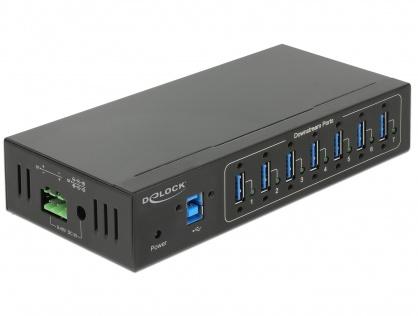 HUB extern industrial cu 7 x USB 3.0 tip A, protectie 15 kV ESD, Delock 63311