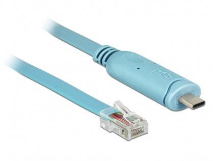 Cablu USB-C la Serial RS-232 RJ45 (pentru router CISCO) T-T 3m Bleu, Delock 63914