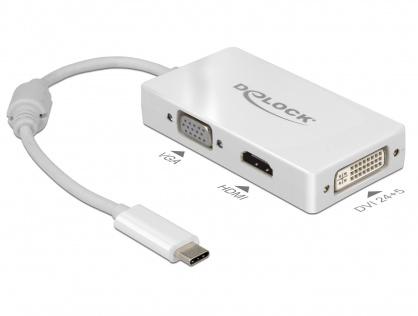 Adaptor USB-C la VGA / HDMI / DVI T-M alb, Delock 63924
