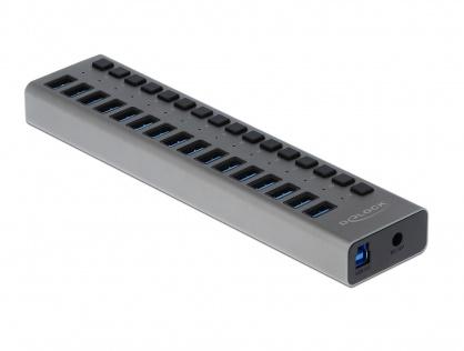 HUB cu 16 porturi USB 3.0 + switch ON/OFF Negru, Delock 63978