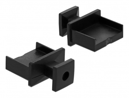 Protectie impotriva prafului pentru conector USB-A mama cu prindere Negru set 10 buc, Delock 64009