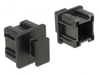Protectie impotriva prafului pentru conector Mini SAS HD SFF 8644 cu prindere set 10 buc Negru, Delock 64012