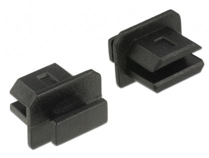 Protectie impotriva prafului pentru conector mini Displayport mama cu prindere Negru set 10 buc, Delock 64026