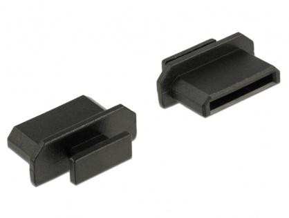 Protectie impotriva prafului pentru conector mini HDMI-C mama cu prindere Negru set 10 buc, Delock 64027
