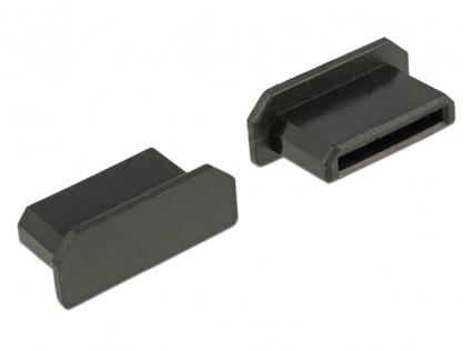 Protectie impotriva prafului pentru conector mini HDMI-C mama Negru set 10 buc, Delock 64028