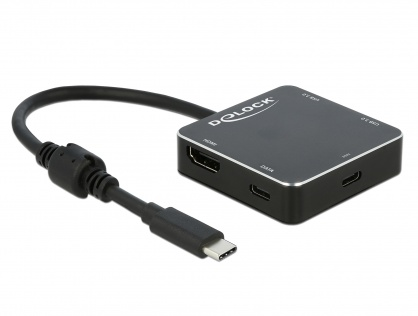 Adaptor USB-C 3.1 la 1 x HDMI-A + 2 x USB 3.0-A + 1 x USB-C + PD (Power Delivery) Negru, Delock 64062