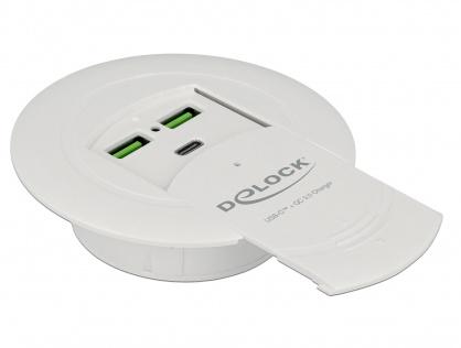 Incarcator USB-C PD 85 W + Qualcomm Quick Charge 3.0 montare masa, Delock 64065