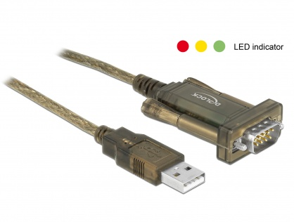 Adaptor USB la Serial DB9 RS-232 Prolific cu indicator LED, Delock 64073