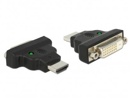 Adaptor HDMI la DVI-D Dual Link 24+1pini T-M cu LED, Delock 65020