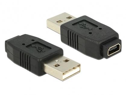 Adaptor mini USB 5 pini la USB A M - T, Delock 65094