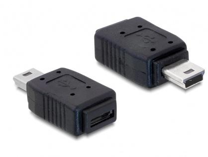 Adaptor mini USB la micro-B USB T-M, Delock 65155