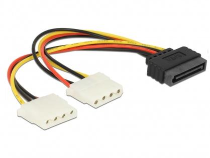 Cablu alimentare SATA la 2 x Molex T-M, Delock 65159