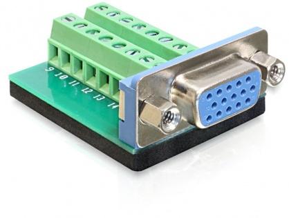 Adaptor VGA mama la bloc terminal 16 pini, Delock 65170