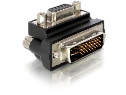 Adaptor VGA la DVI-I Dual Link 24+5pini M-T unghi 90grade, Delock 65172