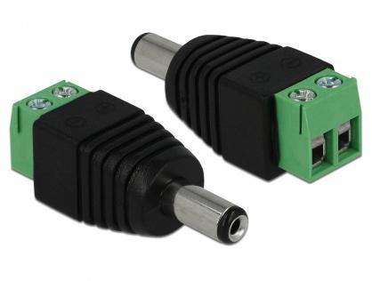 Adaptor DC 2.1 x 5.5 mm Tata la Bloc Terminal 2 pini, Delock 65396