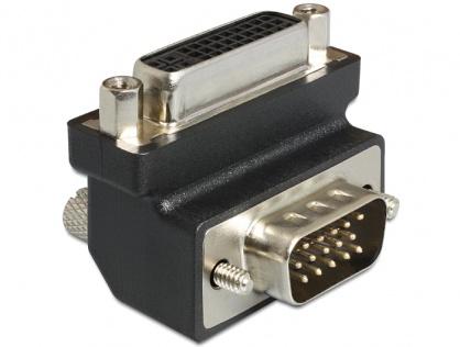 Adaptor DVI-I Dual Link 24+5 pini la VGA M-T unghi 270 grade, Delock 65426