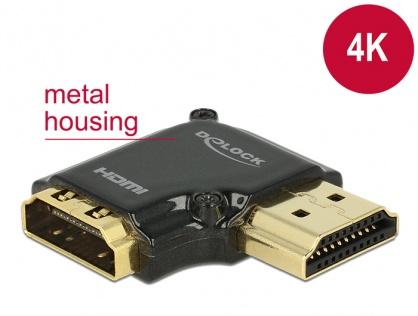 Adaptor HDMI-A T-M unghi 90 grade dreapta 4K carcasa metalica, Delock 65661