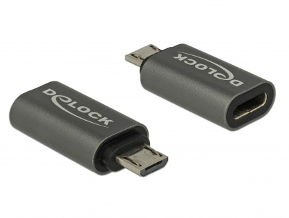 Adaptor micro USB la USB tip C 2.0 T-M Antracit, Delock 65927
