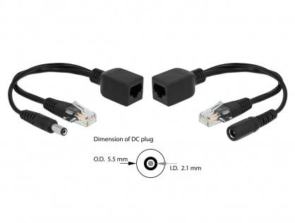 Set adaptor pasiv PoE RJ45 DC 5.5 x 2.1 mm, Delock 66023
