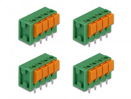 Set 4 buc bloc terminal pentru PCB 4 pini 5.08 mm pitch vertical, Delock 66270