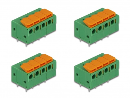 Set 4 buc bloc terminal pentru PCB 4 pini 5.08 mm pitch orizontal, Delock 66275