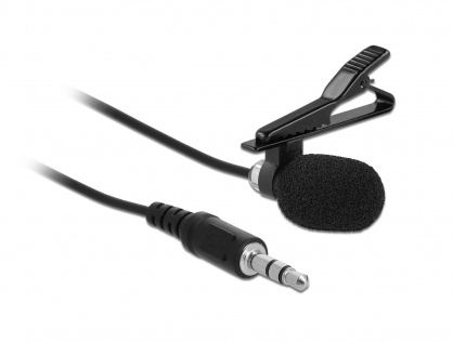 Microfon tip lavaliera Omnidirectional cu Clip jack stereo 3.5mm + Adaptor pentru Smartphone/tableta, Delock 66279
