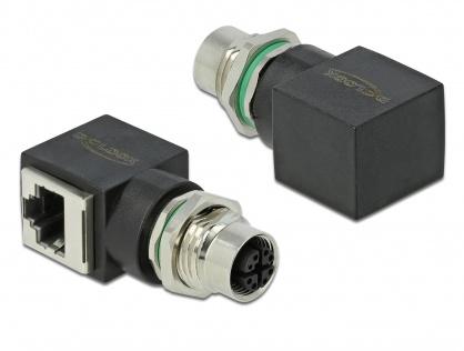 Adaptor retea M12 8 pini X-coded la RJ45 M-M, Delock 66316