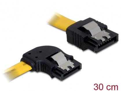 Cablu SATA II 3 Gb/s 30cm stanga/drept galben, Delock 82492