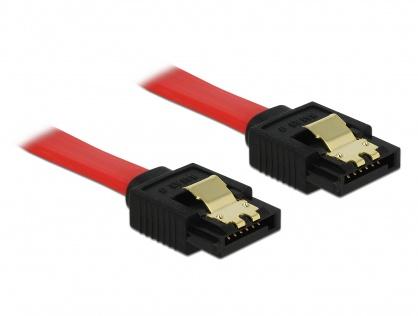 Cablu SATA III 6 Gb/s cu fixare Rosu 10cm, Delock 82674