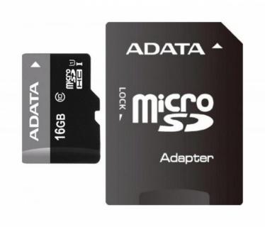 Card de memorie micro SDHC 16GB clasa 10 + adaptor SD, ADATA AUSDH16GUICL10-RA1