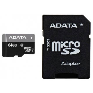 Card de memorie micro SDXC 64GB clasa 10 + adaptor SD, ADATA AUSDX64GUICL10-RA1