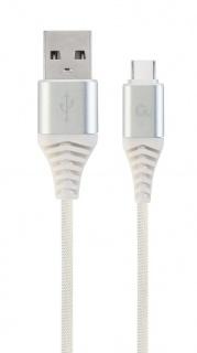 Cablu USB 2.0 la USB-C Premium Alb/Argintiu brodat 2m, Gembird