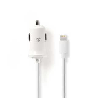 Incarcator auto iPhone Lightning 2.4A 1m Alb, Nedis CCHAL240AWT
