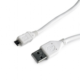 Cablu USB 2.0 la micro USB-B 1m T-T Alb, Gembird CCP-mUSB2-AMBM-W-1M