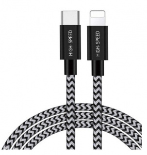 Cablu de date si incarcare USB-C la iPhone Lightning 3A/18W 1m Alb/Negru, DUX DUCIS