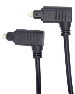 Cablu audio optic Toslink cu ambii conectori in unghi 90 grade 2m