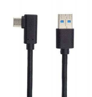 Cablu USB 3.0-C unghi 90 grade la USB-A 3m T-T Negru