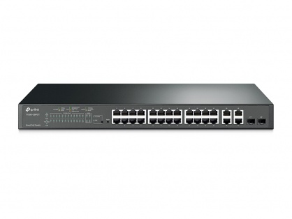 Switch Smart PoE+ 24 Porturi 10/100M + 4 Porturi Gigabit, 2 sloturi SFP, TP-LINK TL-SL2428P