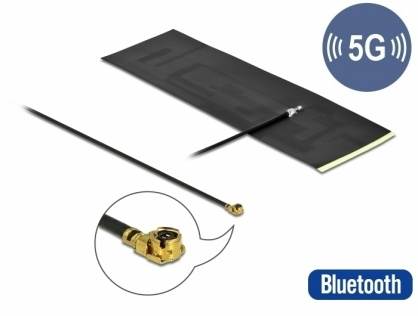Antena 5G LTE MHF® I plug -0.42 - 5.00 dBi omnidirectional FPC, Delock 12626
