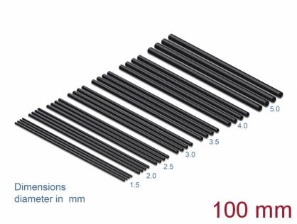Set 28 buc tuburi termocontractabile negre 100mm, Delock 18987