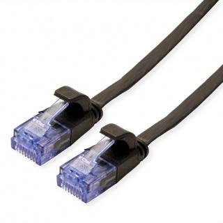 Cablu retea UTP Flat cat.6A 1m Negru, Value 21.99.0821