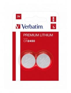 Set 2 baterii CR2450 3V litiu, Verbatim 49938